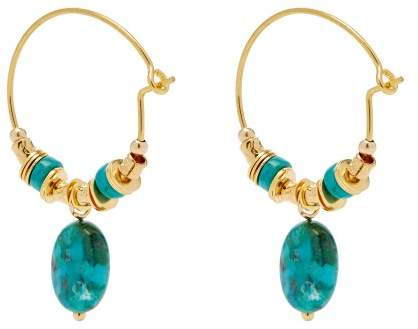 5e6d232d808cb Elise Tsikis - Alcee Turquoise Beaded Hoop Earrings - Womens - Blue ...
