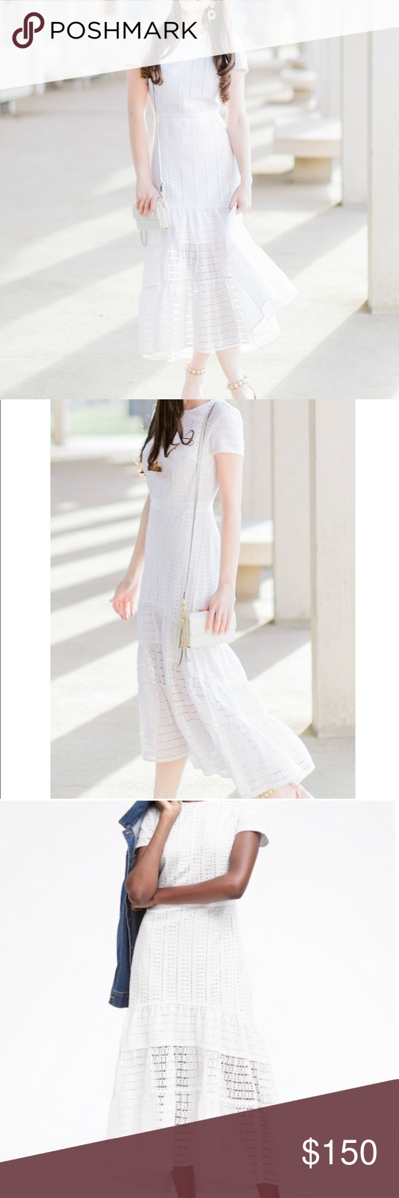 White Fit And Flare Tiered Eyelet Lace Midi Dress Lace Midi Dress Lace Midi Dresses [ 1740 x 580 Pixel ]