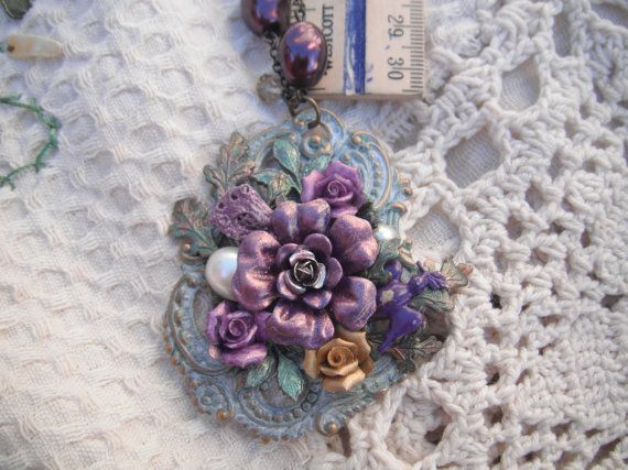 Necklace Brass with Purple large flower and small by BEEBSCLOSET