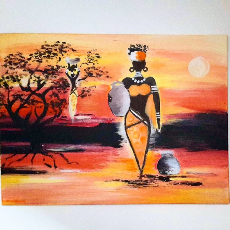 tableau peinture acrylique afrique femme paysages tableau acrylique femmes afrique. Black Bedroom Furniture Sets. Home Design Ideas