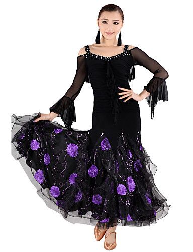 Dancewear Tulle with Embroider Latin Dance Outfits Top and Skirt For Ladies