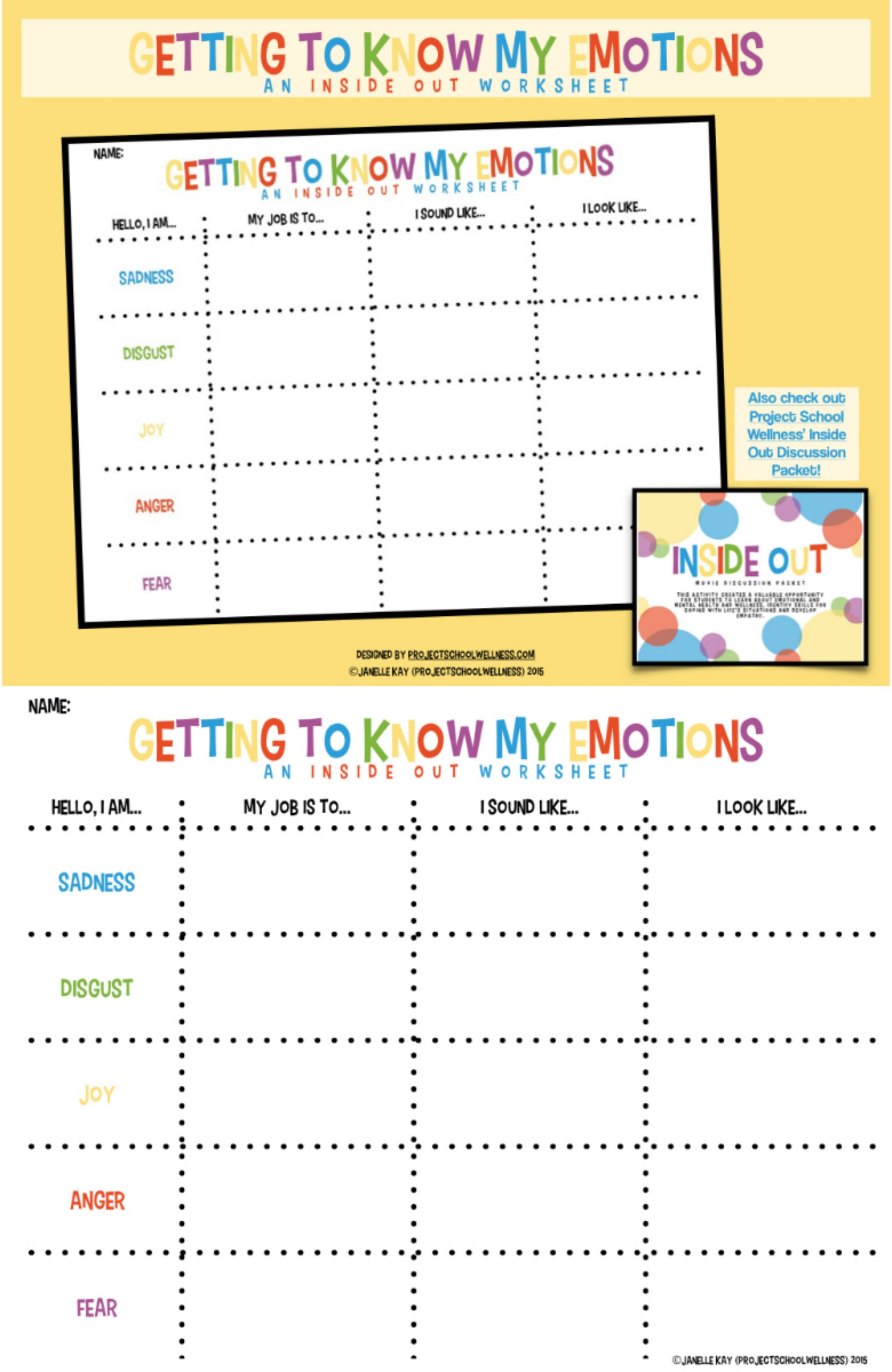 Teach Kids About Emotional Intelligence Using Inside Out This Worksheet Breaks Down Our Basic Emotions And Teaches Kids About Expressing And Identifying