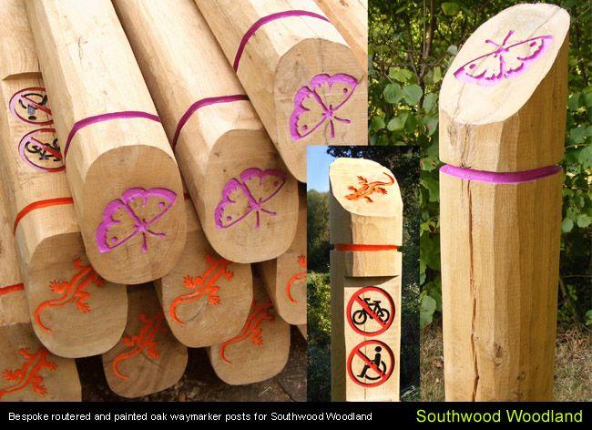 Colourful Timber Waymarkers Different Symbols Represent Different Trails C Eleventh Hour Design Park Signage Wayfinding Signage Interpretive Signage
