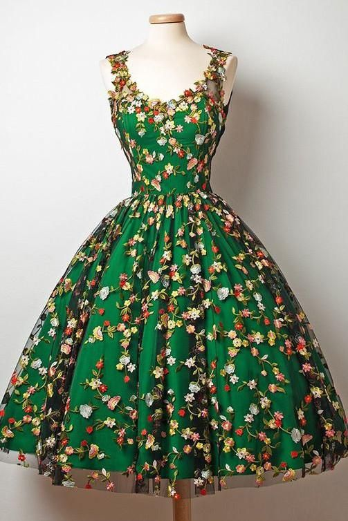 9a41f5a3ca90d A-Line V-Neck Tea-Length Sleeveless Dark Green Tulle Homecoming Dress with  Appliques