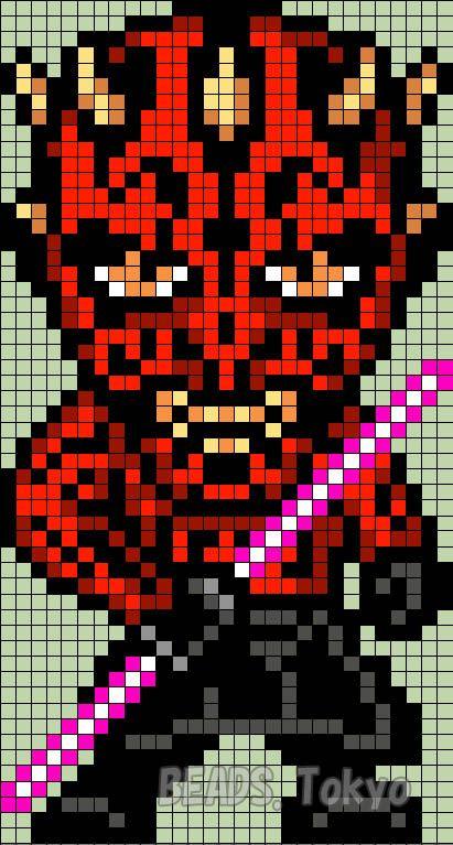 Darth Maul Star Wars Perler Bead Pattern Beadstokyo