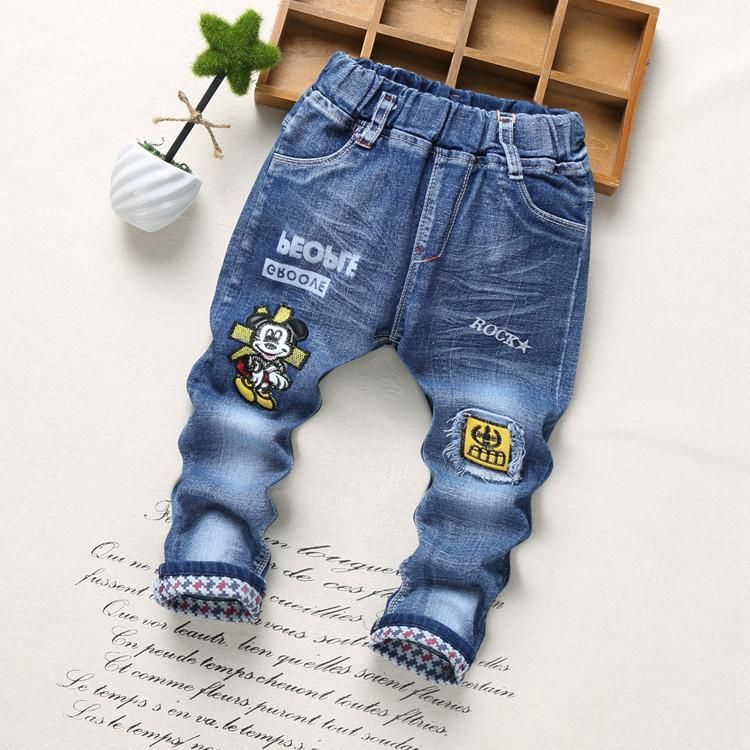 d0fb659bb Spring Fashion Denim Kids Jeans Baby Boy Trousers Autumn Embroidery Cartoon  Pattern Denim Jeans Children Pants 2-6Y