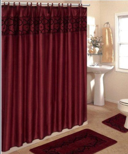 4 Piece Bathroom Rug Set 3 Burgundy Flocking Bath Rugs With Fabric Shower Curtain And Matching Mat Rings