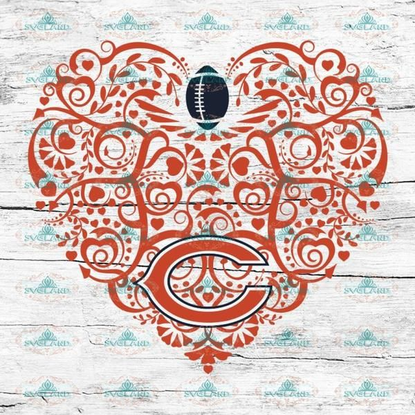 Chicago Bears, Heart SVG, NFL Svg, Football Svg, Cricut
