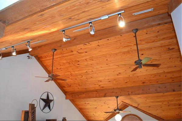 Ceiling Fan And Track Lighting On A Vaulted