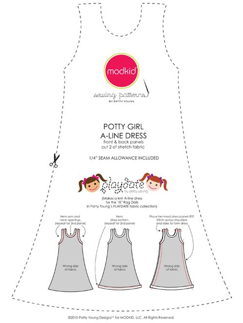 A line dress template for modkid | dolls | Pinterest | Moldes de ...