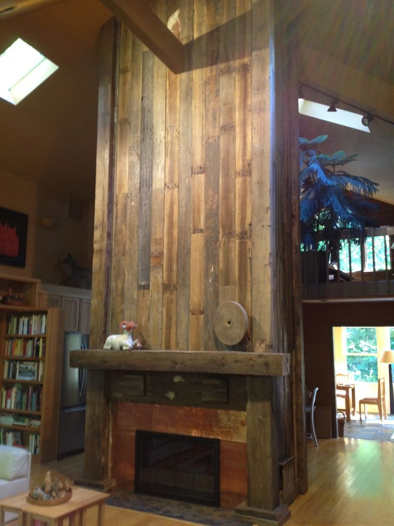 Stone fireplace with reclaimed bargeboard finish contemporary - Reclaimed Wood Fireplace Veneer