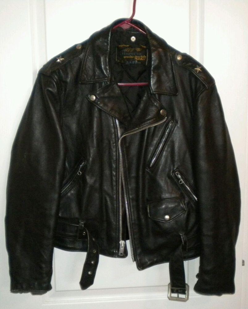 Vintage Schott One Star Leather Jacket Motorcycle #Schott #Motorcycle