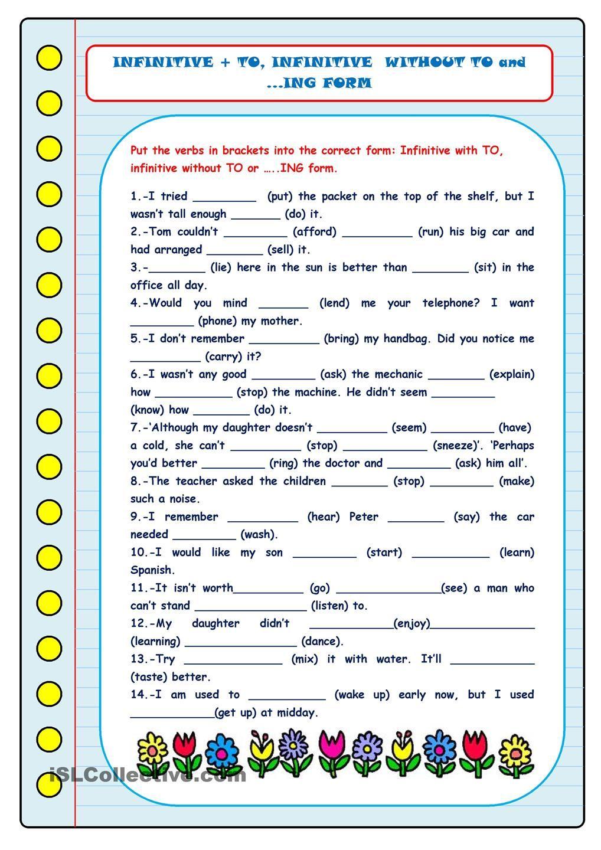 worksheet Esl Gerunds Worksheet to infinitive without gerunds printable worksheetsenglish