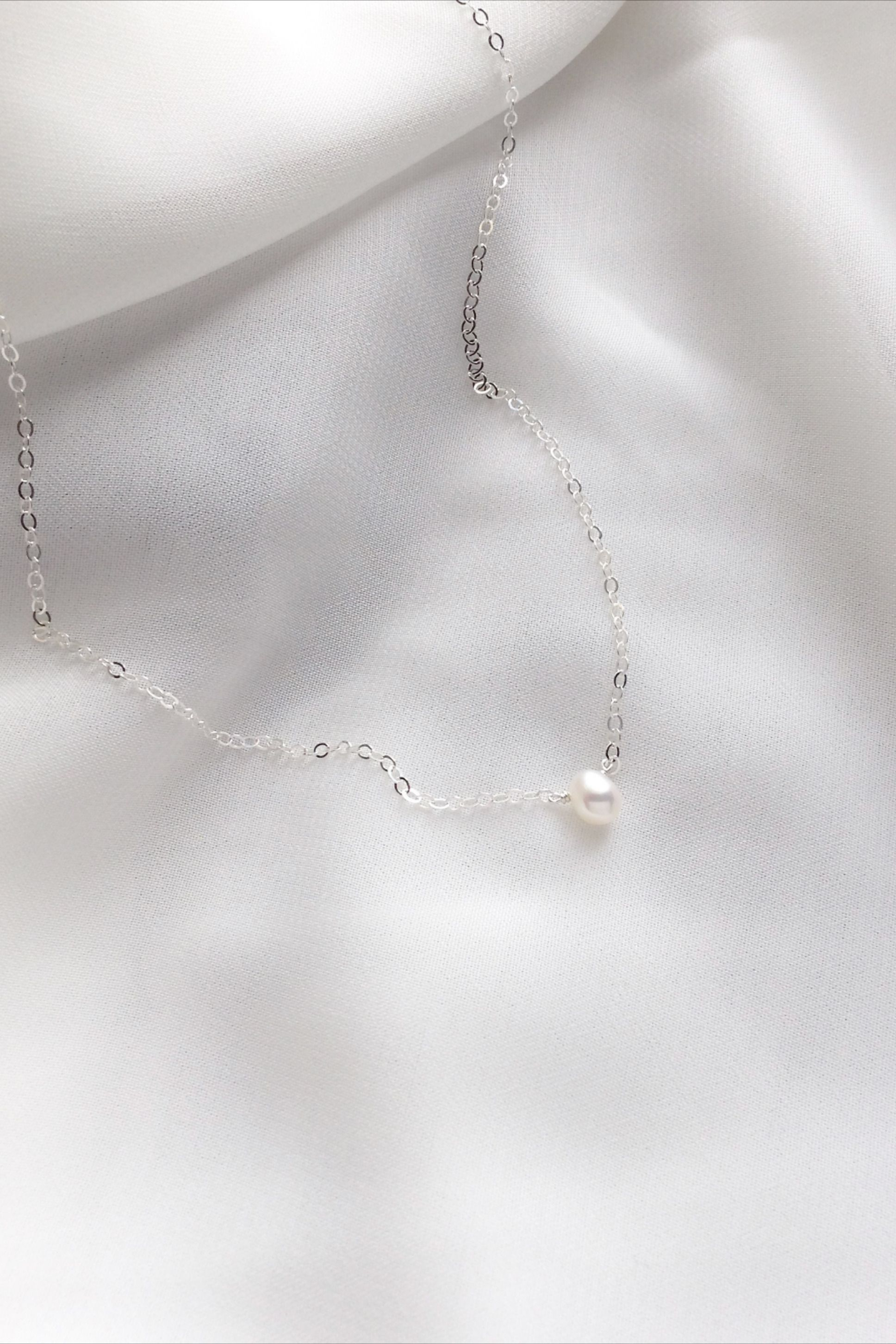 Photo of Delicate Minimalist Pearl Necklace | IB Jewelry