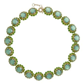 Emerald Crystal Daisy Necklace By Ily Couture