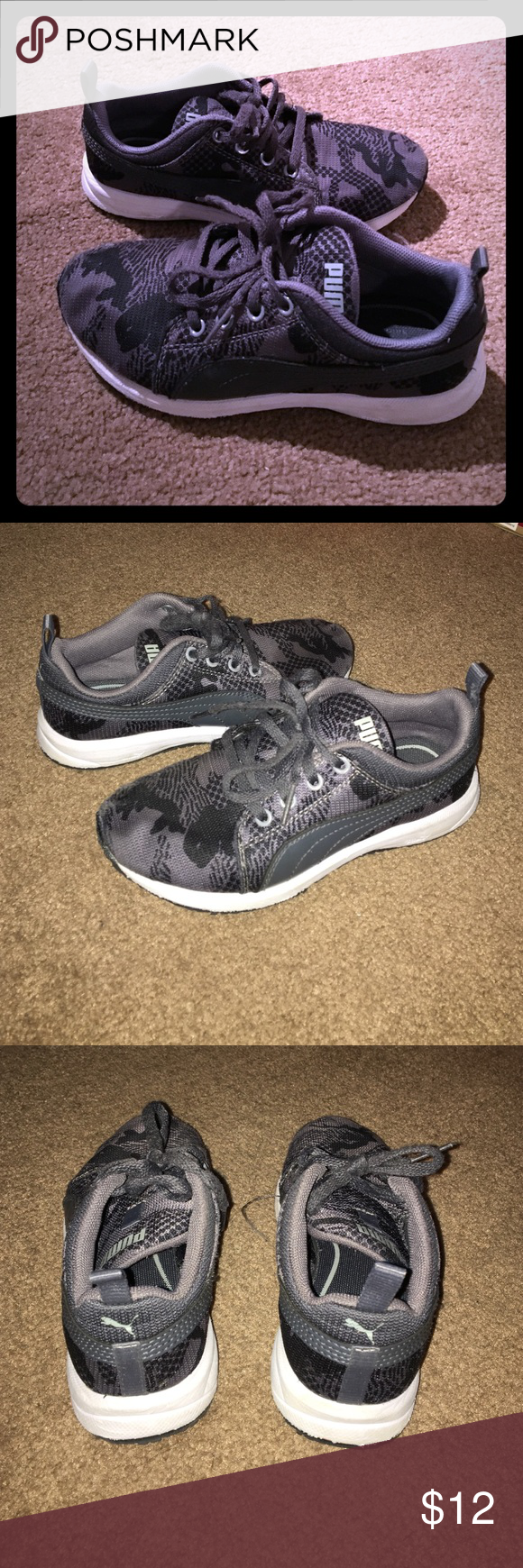 Boys gray and black Puma sneakers Good used condition see photo #4 for wear spots on front. These are so cute and unique Camo design and cleaned up. Still lots of play left! Puma Shoes Sneakers