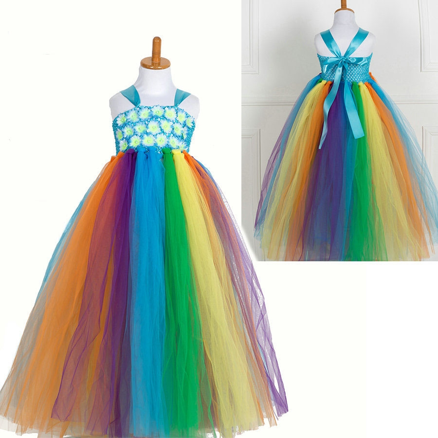 21.00$  Watch now - http://alidvz.shopchina.info/1/go.php?t=32789169504 - Fluffy children Tulle Colorful Girl Tutu costume Rainbow Birthday party princess dresses for girls of 10 year old Kids Dress 21.00$ #SHOPPING