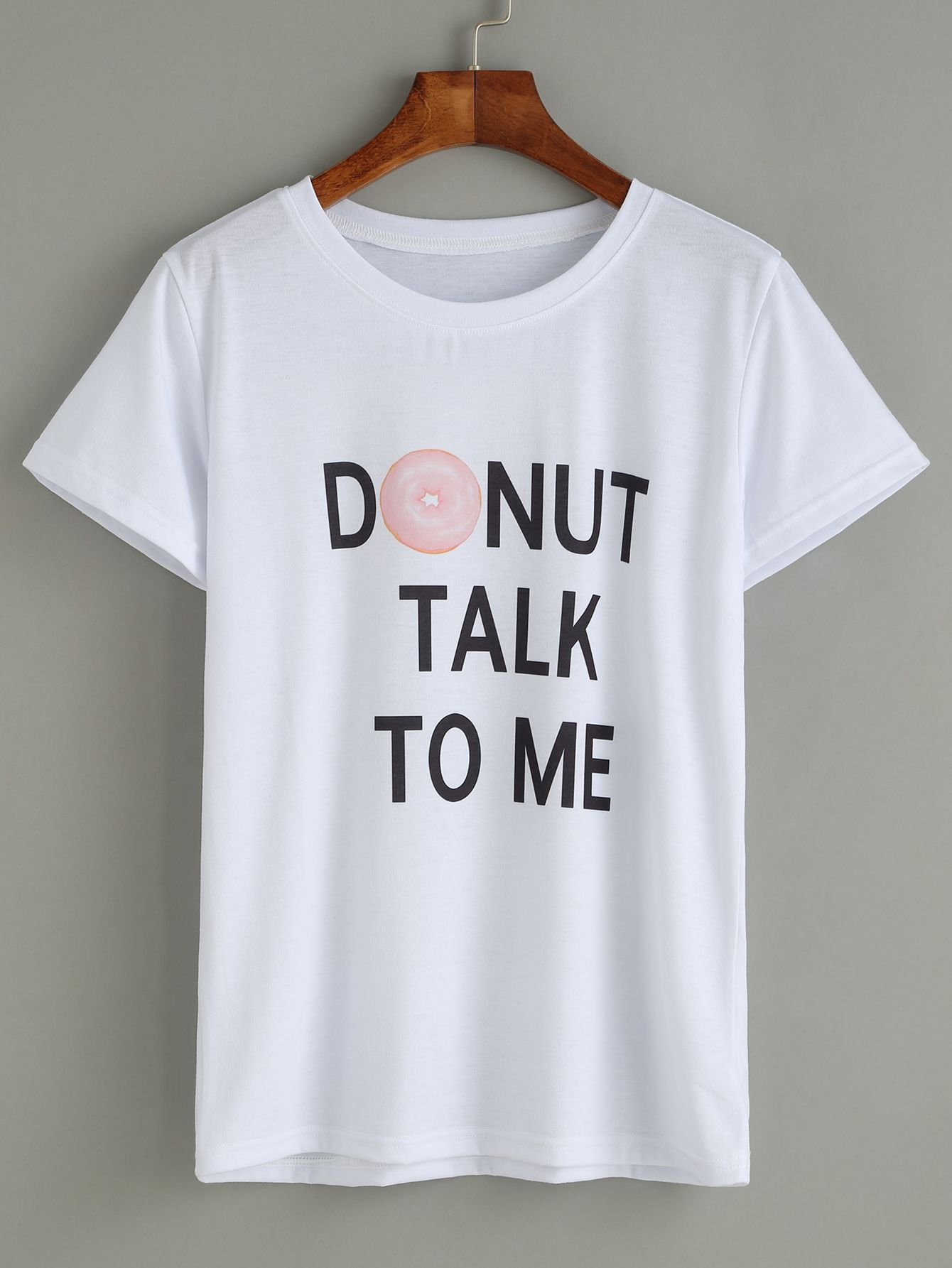 a4e59b93bf Shop White Donut And Slogan Print T-shirt online. SheIn offers White Donut  And Slogan Print T-shirt & more to fit your fashionable needs.