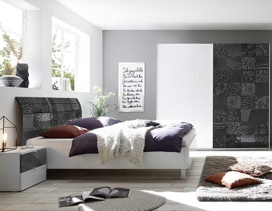 Chambre blanche et anthracite design MILENA 2 | Chambre adulte ...