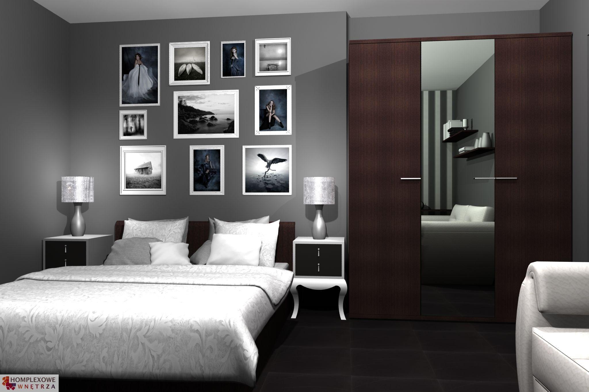 Aranżacja sypialni wystrój klasyczny, nowoczesny w kolorach biały, czarny, szary - projekt ...