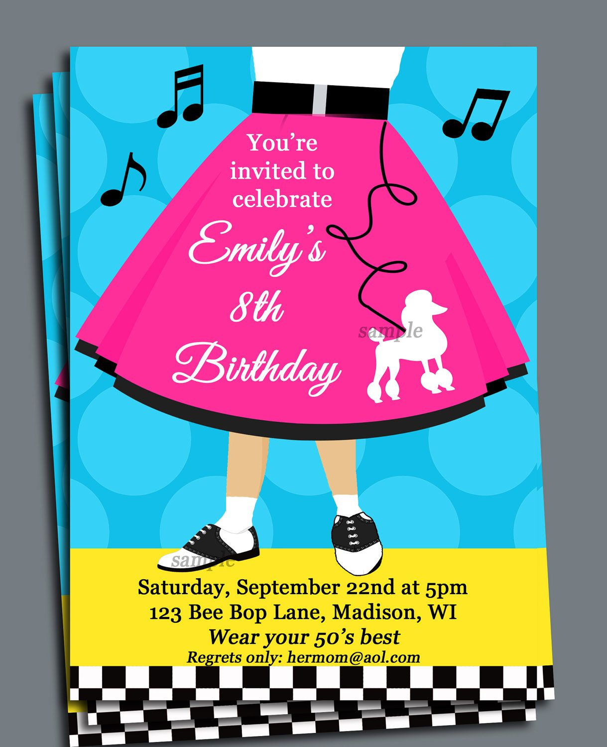 Fifties Invitation Printable or Printed with FREE SHIPPING - Sock ...