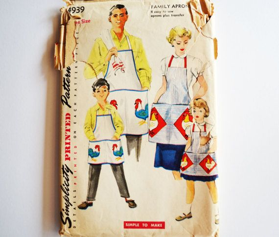vintage apron pattern: 50s bib apron for kids by VintageSupplyShop