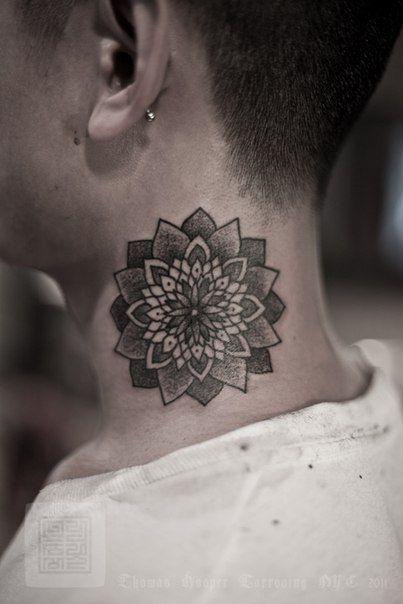 neck tattoo idea, mandala tattoo, lotus tattoo, mandala neck tattoo