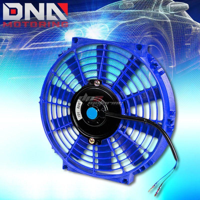 "Universal 10/"" Eletric Fan Thin//Slim Reversable Radiator Motor Cooling 80W Blue"