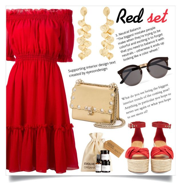 """""""Red set"""" by dadica21 ❤ liked on Polyvore featuring Alexander McQueen, Valentino, Fendi, Illesteva and Kenneth Jay Lane"""
