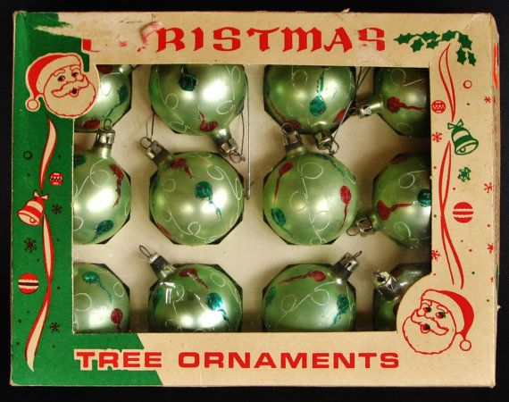 hand blown glass christmas ornaments set in box mica glitter turquoise ornaments 1950s christmas decorations polish glass ornaments set - 1950s Christmas Decorations