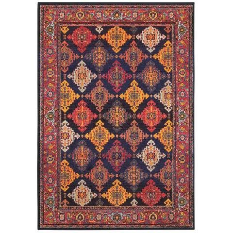 Bohemian Navy Yellow Oriental Traditional Rug