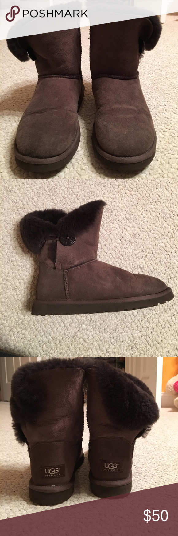 Ugg Australia short button boots Chocolate colored Ugg boots with a button on the side. No water damage and minimal wear and tear to the inside sole. UGG Shoes Winter & Rain Boots