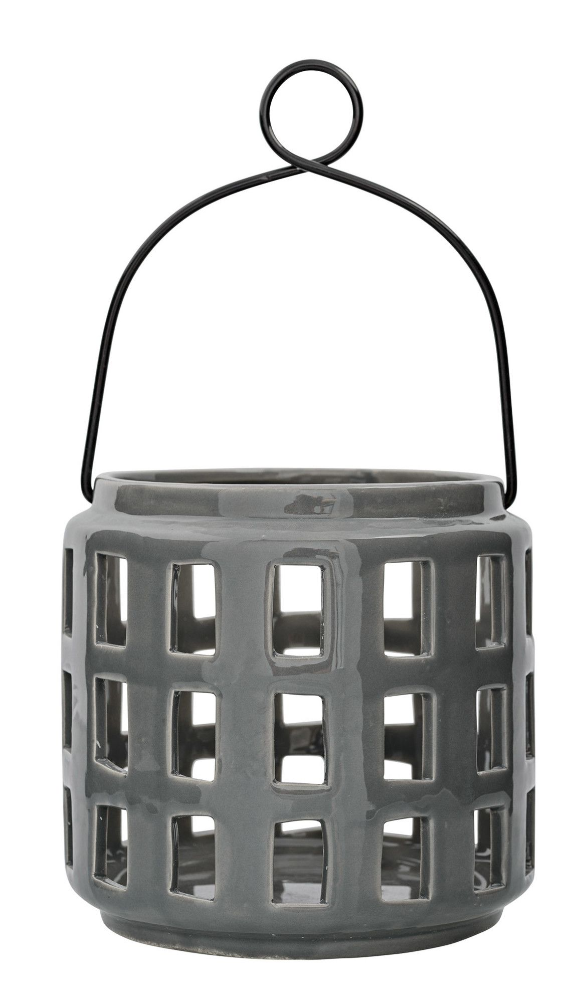 Grey Lantern With Handle: Grey Ceramic Lantern With Handle. Ideal For  Adding The Soft Glow Of Candlelight Around The Home Or Garden.
