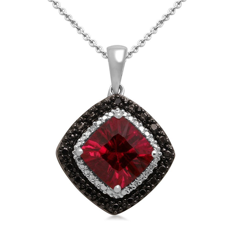 in gemstone necklaces pendant heart real solid from silver jewelry necklace brand fine r double created red item sterling ruby