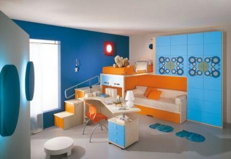 Décoration orange et bleue pour chambre enfant Cuisine Pinterest