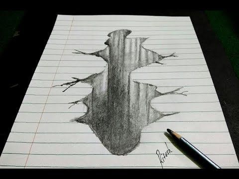 Easy D Line Drawings : Drawing 3d hole trick art on line paper easy