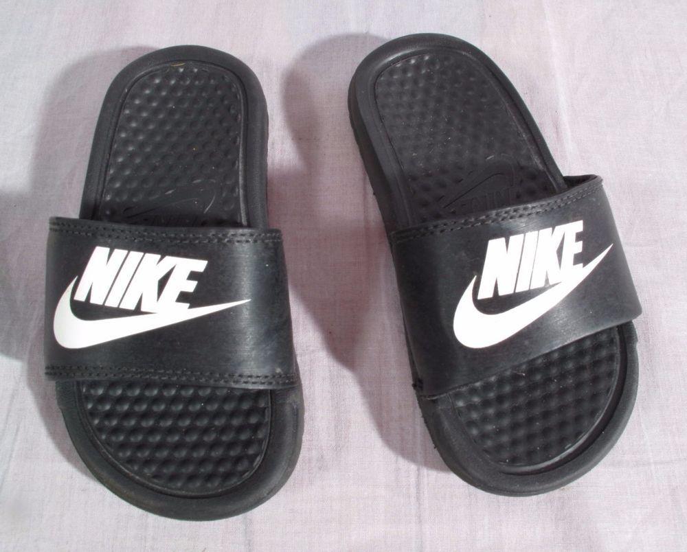 Black sandals size 11 - Unisex Nike Toddler Sandals Black Size 11 M Slides Nike Slides