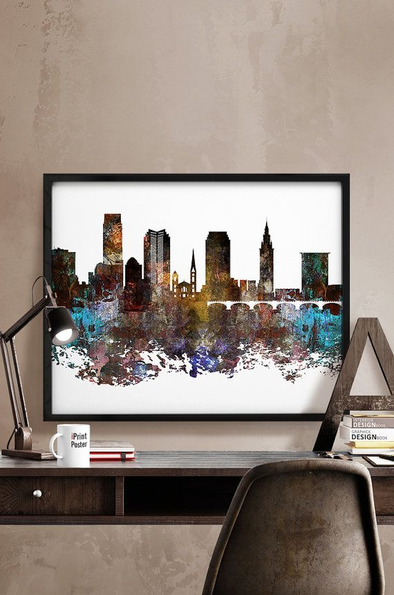 home decor cincinnati. Cincinnati print skyline poster by iPrintPoster on Etsy Cleveland art  Ohio abstract
