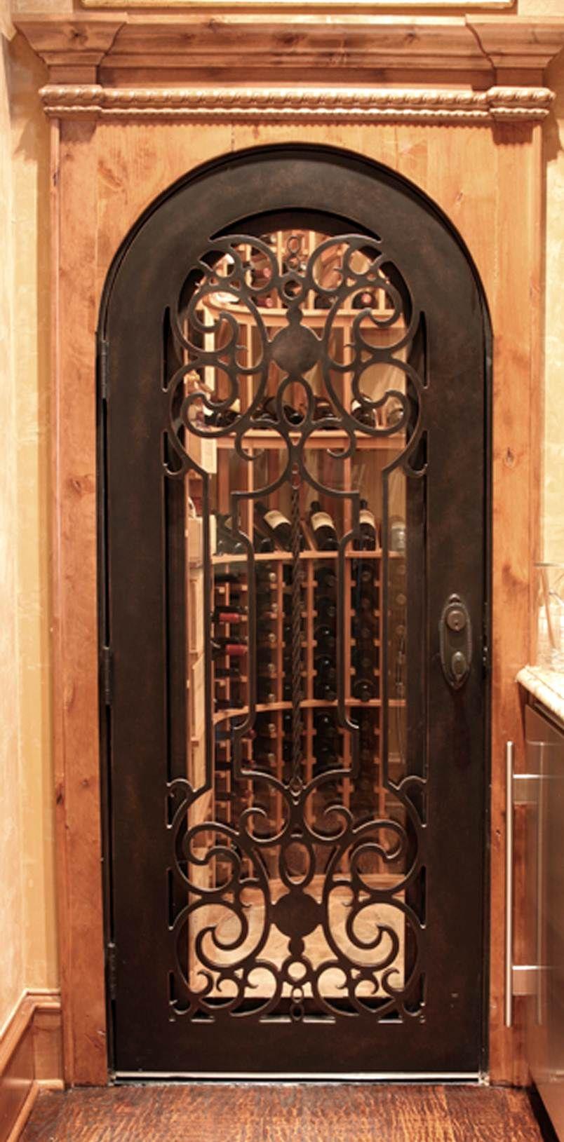 Wrought iron hand forged custom wine cellar door dallas design style