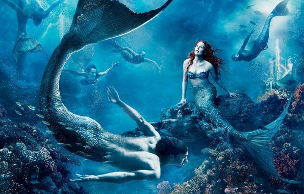 Wallpaper creature, a mermaid, sea, underwater wallpapers fantasy - download