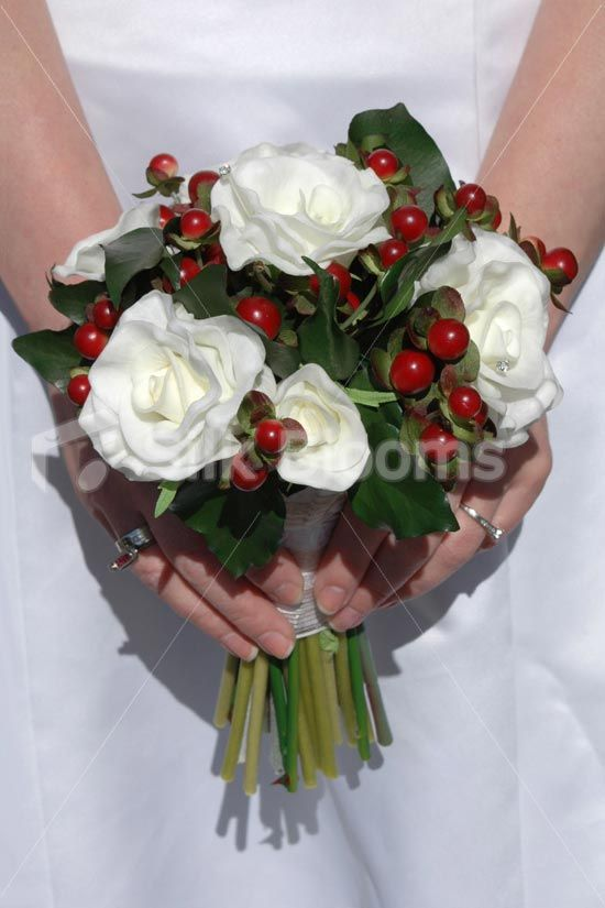 Real Touch White Rose Red Berry Christmas Winter Wedding Bridesmaid Bouquet