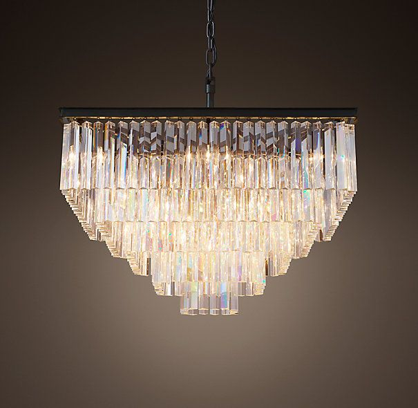 1920s Odeon Clear Glass Fringe Square 5 Tier Chandelier Restaurant Pendant Light Crystal Lighting Crystal Pendant Lighting
