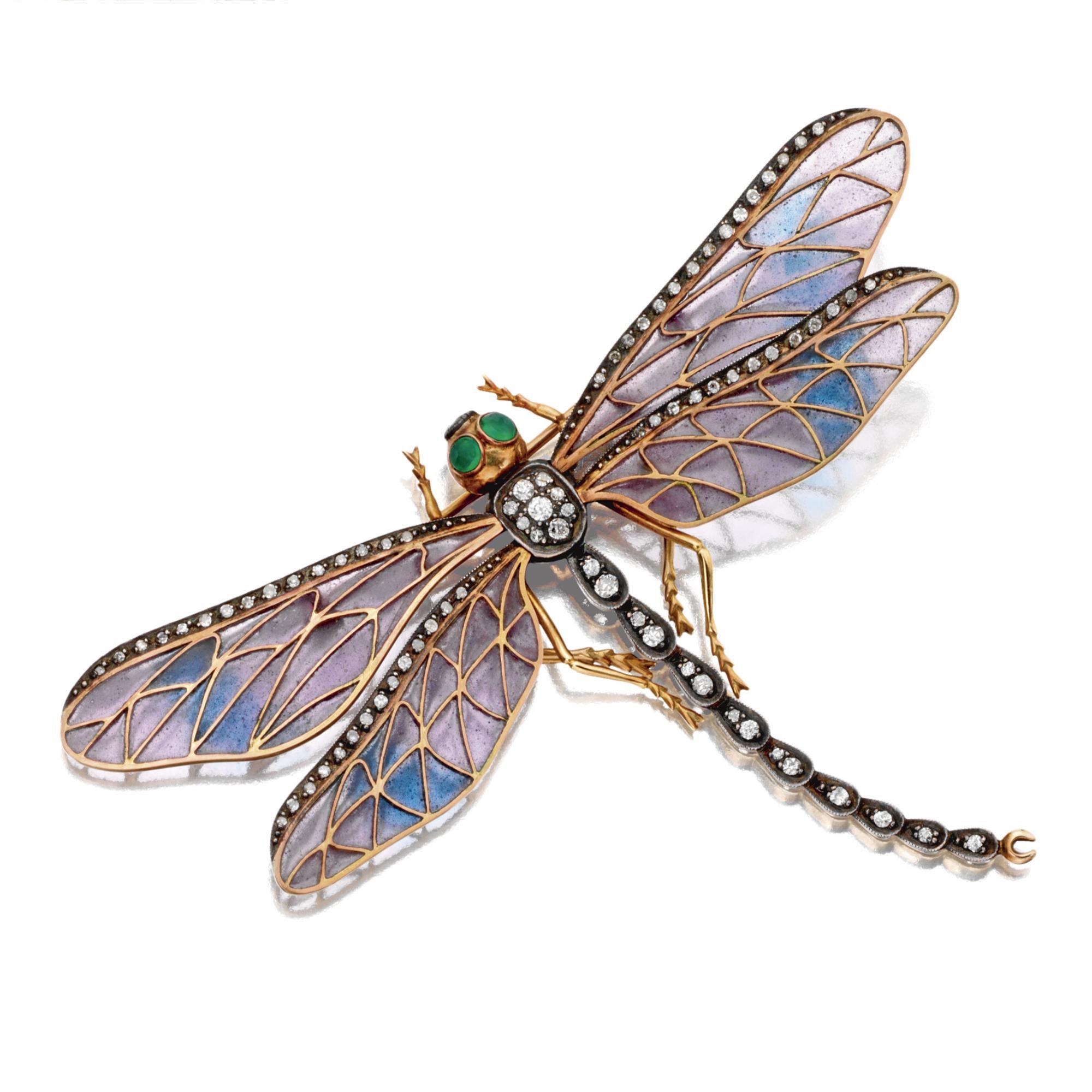 720f24dd093 ART NOUVEAU PLIQUE-À-JOUR ENAMEL AND DIAMOND DRAGONFLY BROOCH, CIRCA 1900.  The wings of pale lavender and turquoise plique-à-jour enamel edged in  single-cut ...