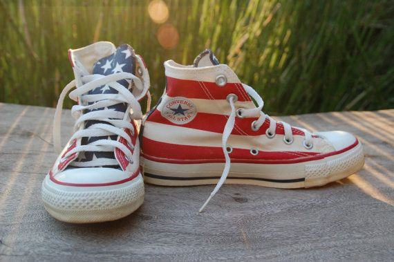 d3022bd438ed American Flag Converse All Star Vintage Stars and Bars Made in the USA  Chucks Red White and Blue Fourth 4th of July 80s on Etsy