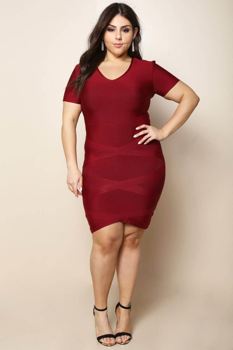 What wedding dress is best for my body type  Plus Size Bodycon Bandage Party Dress Burgundy  Products