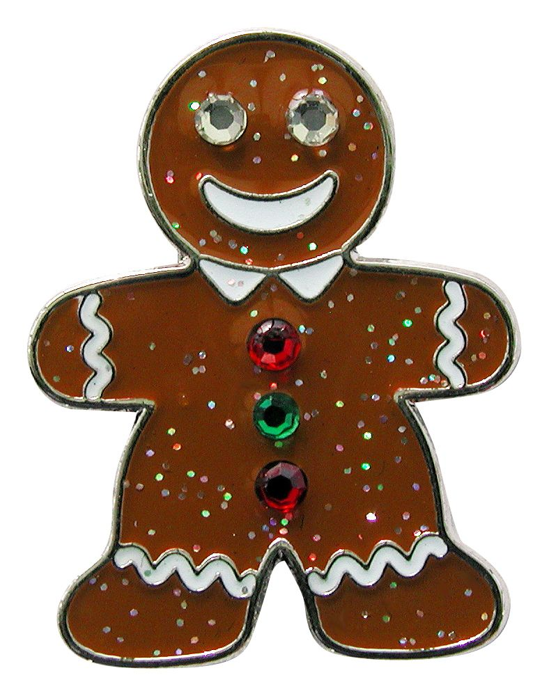 Gingerbread Man Glitzy Ball Marker with Swarovski Crystals and Hat Clip  #Navika #gingerbreadman
