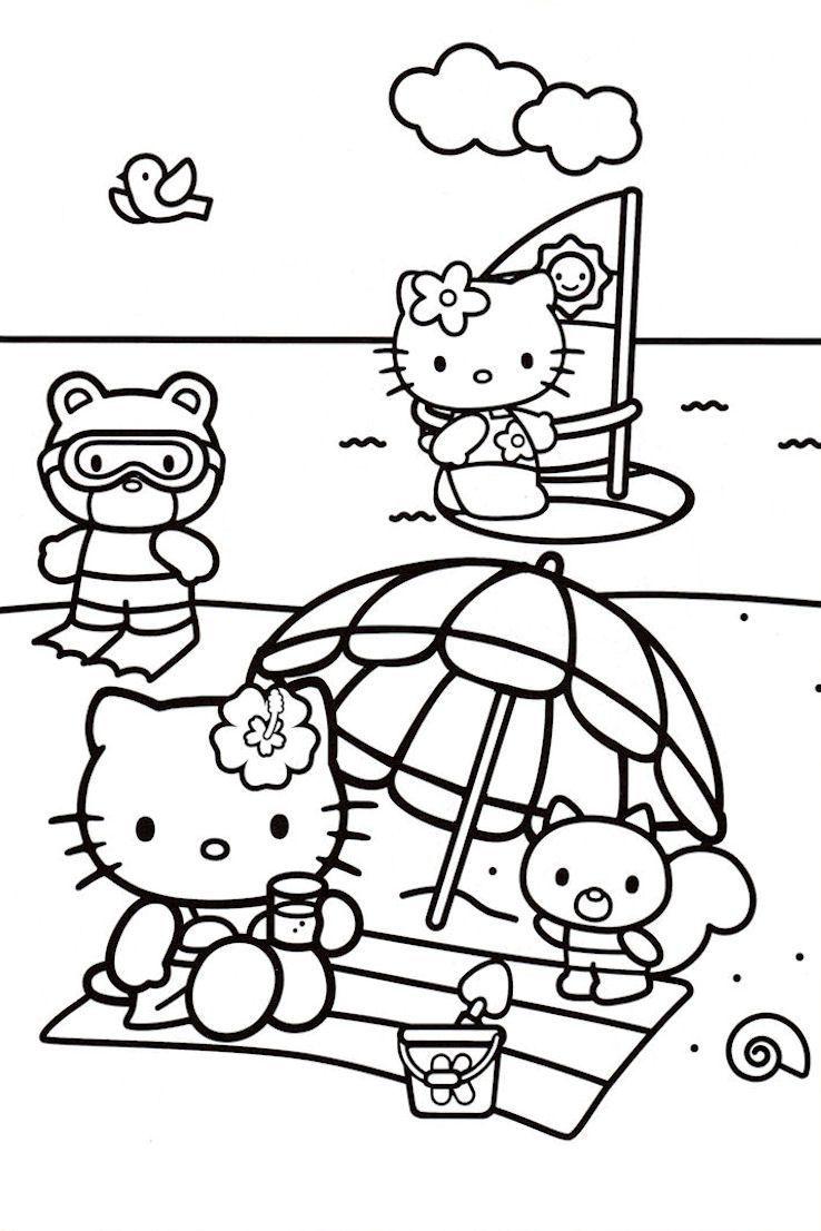 Beach Coloring Pages Beach Scenes Activities Gatito Para Colorear Hello Kitty Para Colorear Libros Para Colorear