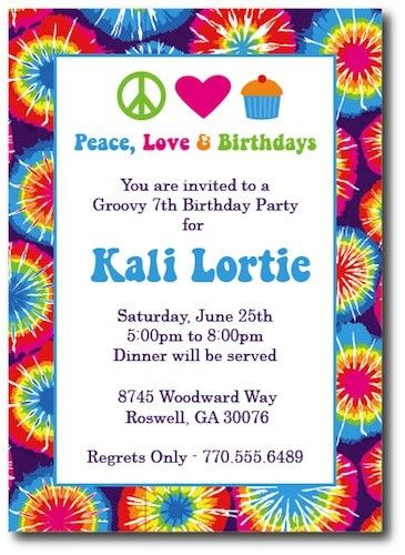 Tie Dye Invitations Hippie Chick By Thepreppyladybug On Etsy