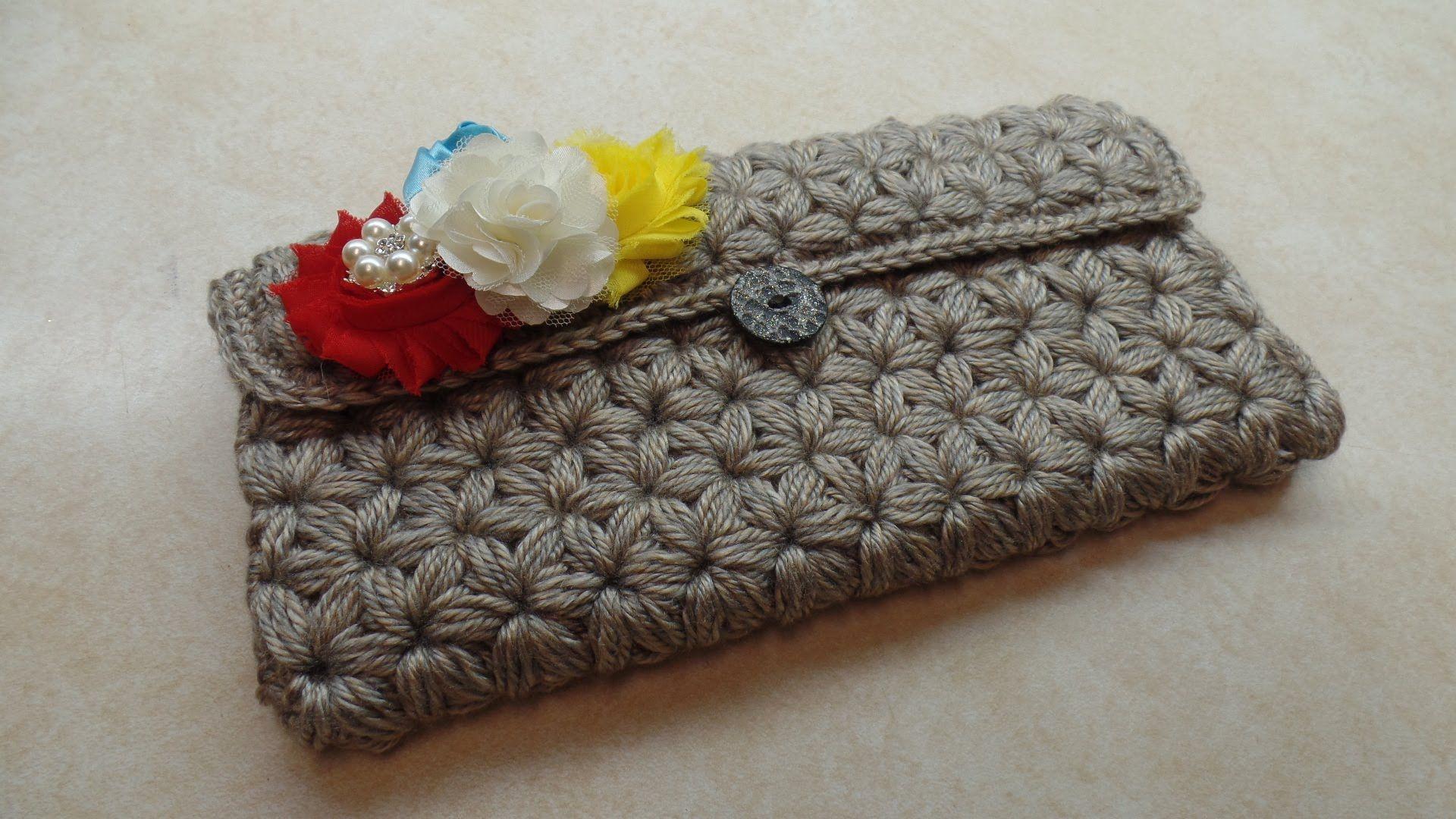 How To Crochet Puffed Star Stitch Clutch Wallet Purse