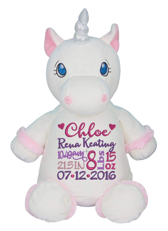 Personalized cubby unicorn white unicorn custom embroidery birth personalized cubby unicorn white unicorn custom embroidery birth block new baby girl plush negle Choice Image